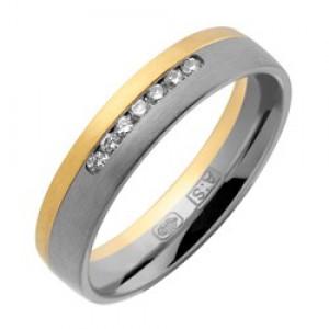 14 krt wit en geelgouden AS partnerring mat model 440 : 4,5 mm x 1,6 mm,verfraaid met 7 x 0.015 ct  briljant geslepen diamanten  TW/VVS, ringmaat 17,5 - 213152
