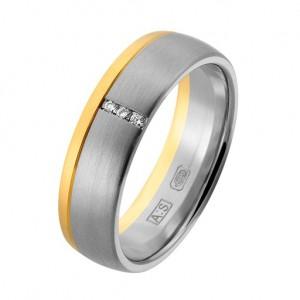 14 krt geel en witgouden Aller Spanninga partnerring, model 444 in 6 mm x 1,8 mm mat uitgevoerd maat 17,5 en verfraaid met 3 x 0.01 ct briljant geslepen diamanten TW/VS - 213143