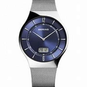 stalen Bering radio-controlled horloge , ronde kast en blauwe wijzerplaat en stalen milanaise band refnr 51640-007 - 212136