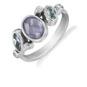 rabinovich zilveren ring met  grijze kwarts en blauw topaas - 207589