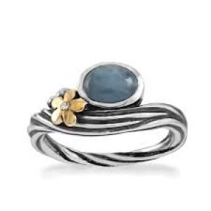Rabinovich zilveren ring met 14 kt geelgoud en aquamarijn en briljant - 209772
