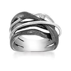 Rabinovich ring met witte topaas en geoxydeerd zilver - 209853