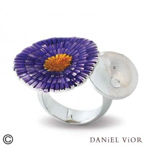 Daniel Vior zilveren ring model Solaris paars en oranje emaille - 204517