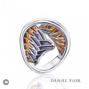 D.Vior ring in gerhodineerd zilver model Tarsus in geel-blauw/zwart - 209399