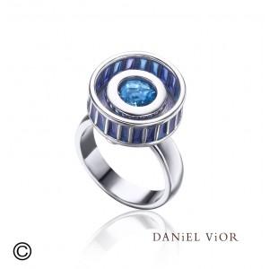 Daniel Vior ring Rodet blauw emaille en zirkonium - 205074