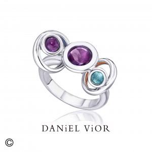 Daniel Vior zilveren ring model Mava met amethist en topaas - 209398