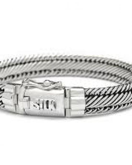 silk armband, geoxydeerd zilver met insteekveer en veiligheidsachtje - 209335