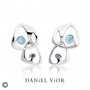 Daniel Vior zilveren oorsieraden model Dilende met topaas en tanzaniet - 210271