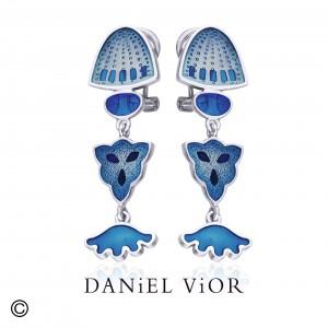 Daniel Vior zilveren oorsieraden DIATOMEAS met blauw emaille - 208857