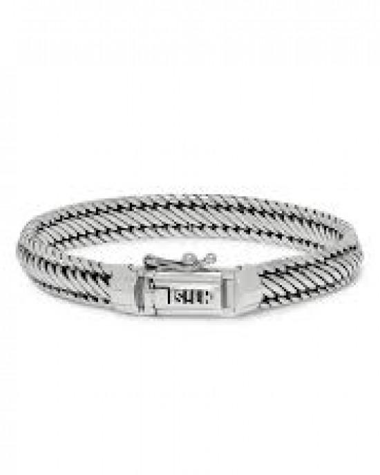 silk armband, geoxydeerd zilver met insteekveer en veiligheidsachtje - 209309