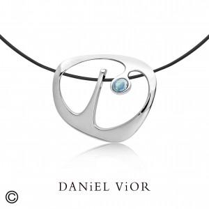 Daniel Vior zilveren hanger model Dilende met Topaas - 210274