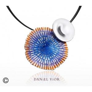 Daniel Vior zilveren hanger model Solaris met paars/oranje emaill - 204511