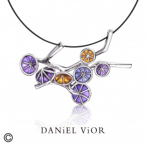 Daniel Vior zilveren hanger Ipomea, div. emaille - 35371