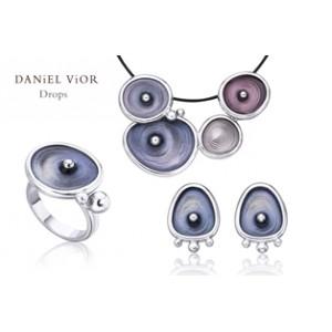 Daniel Vior zilveren hanger model Drops  met blauw emaill - 204509