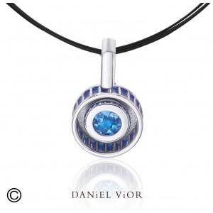 Daniel Vior zilveren hanger model Rodet met blauw emaille en Zirkonium - 205078