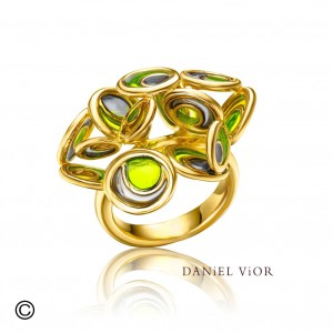 Daniel Vior zilveren ring geelgoud verguld, Opuntia, groene emaille - 210269