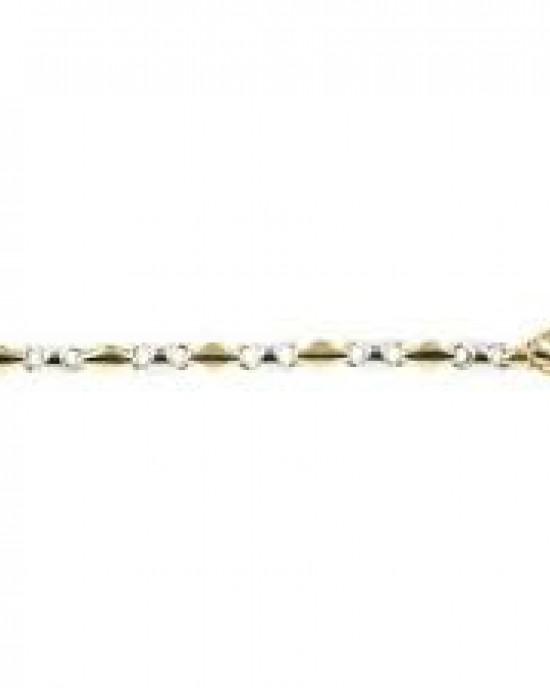 14 krt bicolor gouden fantasie Monzario armband , 19,5 cm - 209262