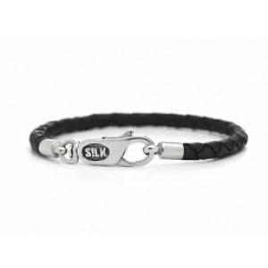 silk armband leder zwart met zilveren eindhaken en karabijnsluiting ; model 830BLK op 21 cm - 212514