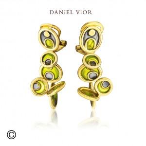 Daniel Vior zilver geelvergulde oorsieraden model Opuntia in groen emaille - 210276
