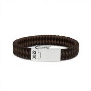 silk armband, geoxydeerd zilver met bruin/zwart leer voorzien van een insteekveer en veiligheidsachtje ; 841BBR.21 cm - 209322