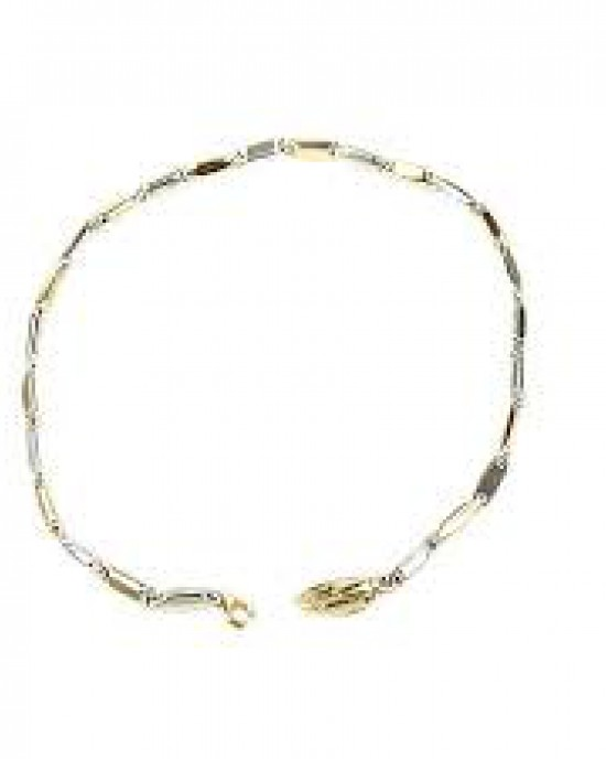 14 Karaats bicolor gouden Monzario fantasieschakelcollier, 45 cm, 865A - 212660