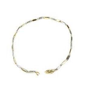 MOonzario fantasieschakel armband nr. 865a in 14 krt geel -witgoud, - 301278