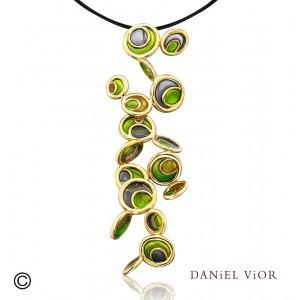 Daniel Vior zilver geelvergulde hanger model Opuntia in groen emaille - 210275