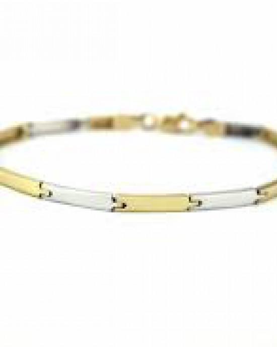14 Karaats bicolor gouden Monzario armband, bestaande uit rechte plaatjes, 19 cm, 867A - 203830