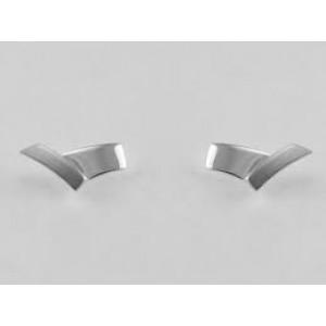NOL handgesmede zilveren fantasie oorstekers, V- model, mat-poli - 211454