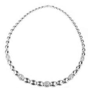 Monzario argento collier ovaaltjes metzet met pavé zirkonia - 207688