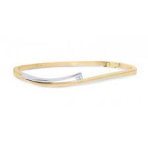 14 krt bicolor gouden R&C slavenband met een 0.06 ct briljant geslepen diamant Si/R en voorzien van veiligheidsklepje - 211436