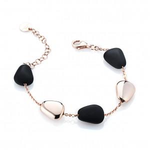 Marcello Pane fantasie armband bestaande uit een combinatie van zilveren schakels rosé verguld en zwart gevulkaniseerde rubberen schakels; ca 20 cm - 212478