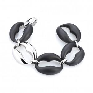 Marcello Pane fantasie armband bestaande uit een combinatie van zilveren schakels en zwart gevulkaniseerde rubberen schakels; ca 20 cm - 212468