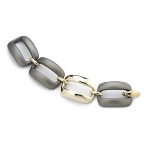Marcello Pane fantasie armband bestaande uit een combinatie van zilveren schakels geel verguld en olijfkleurig gevulkaniseerde rubberen schakels; ca 20 cm - 212471