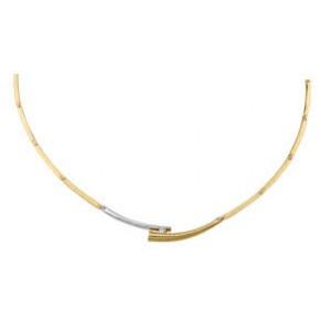 14 krt bicolor gouden Eclat fantasiechoker met in de applique een 0.05 ct briljant geslepen diamant  TW/VS - 211813