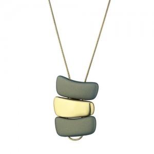 Marcello Pane fantasie hanger inclusief jasseronschakel lengte collier , combinatie van zilveren schakels geel verguld en olijfkleurig gevulkaniseerde rubberen schakels - 212467