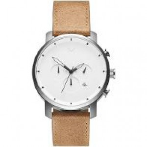 "MVMT "" Chrono White Caramel ""  45 mm kast + lederen band, witte wijzerplaat - 209647"