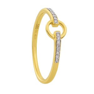 14 krt geelgouden Eclat Fantasie ring met 16 diamantjes, totaal 0.05 ct G/Si - 211750