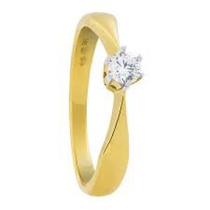 14 krt geelgouden solitairring met witgouden 6-poots chaton waarin een 0,15 ct briljant geslepen diamant is gezet VS/TW - 208656