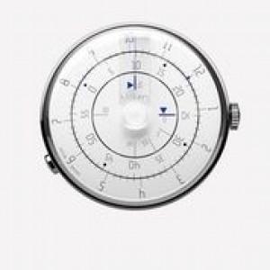 Klokers horloge met zwitsers uurwerk, serie Klok-01 / 44 mm , witte wijzerplaat met blauwe accenten - 212990