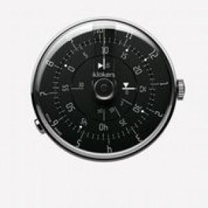 Klokers horloge met zwitsers uurwerk, serie Klok-01 / 44 mm , zwarte wijzerplaat met blauwe accenten - 212991