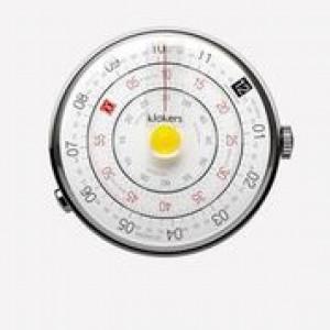 Klokers horloge met zwitsers uurwerk, serie Klok-01 / 44 mm , Heritage witte wijzerplaat met gele stip - 212992