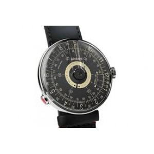 """Klokers horloge met zwitsers uurwerk, serie Klok-08 / 39 mm , """" Sixties """" donkere wizerplaat met gele accenten - 212993"""