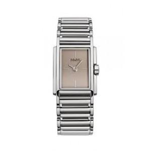 M&M horloge met rechthoekige kast en voorzien van een open gewerkte stalenschakel band , model 11896.147 - 207454