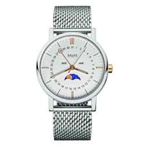 M&M horloge met maanfase prijswinnend design stalen kast en milanaise band en goudkleurige indexen ; refnr 11919.162 - 206628