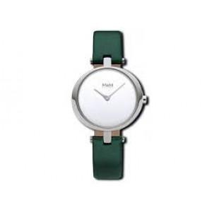 M&M horloge stalen kast en lederen band , modelnr : 11931.942 - 205943