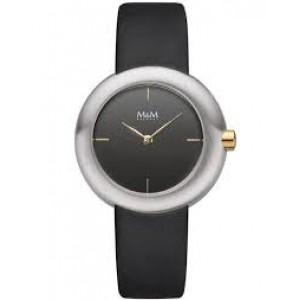 stalen bicolor M&M horloge met lederen band en donkere wijzerplaat  M11936-455 - 208253