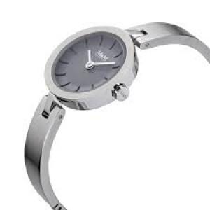 M&M horloge met stalen ronde kast en spangarmband met grijze wijzerplaat met streepjes - 209527