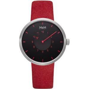 stalen M&M horloge ; ronde kast en donkere wijzerplaat met rode indexen en met lederen band - 210239