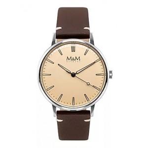 """stalen M&M horloge """" Retro """" met sleepsecondewijzer en luminiserende wijzers en indexen, lichte wijzerplaat en lederen band - 210237"""